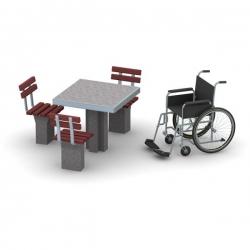 Betoninis šachmatų stalas ML-4106 su kėdėmis pritaikytas neįgaliesiems